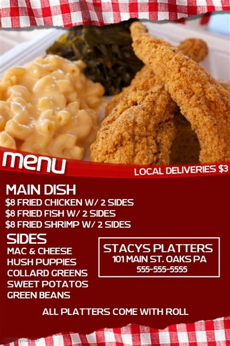 Soul Food Template Postermywall Free Dinner Sale Flyer Template