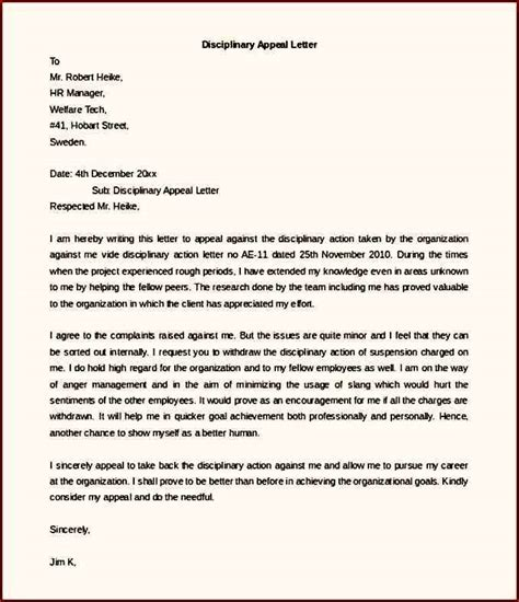 Appeal Letter Employee Disciplinary Appeal Letter Template Free Word Template Update234 Template