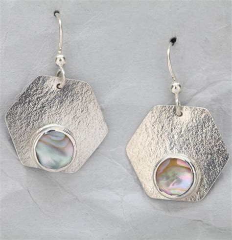 Handmade Sterling Silver Jewelry Designs - handmade sterling silver earrings with abalone finely