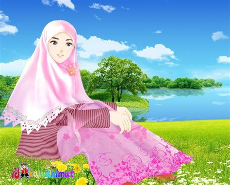 wallpaper hijab animasi keren gambar islami