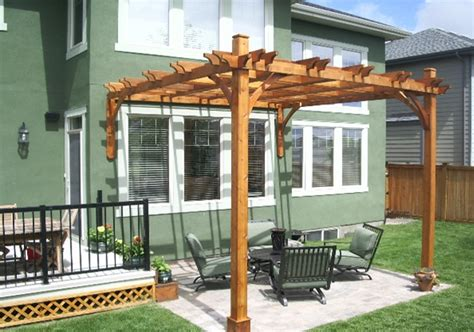 pergola attached to house cedar wood 12x12 outdoor