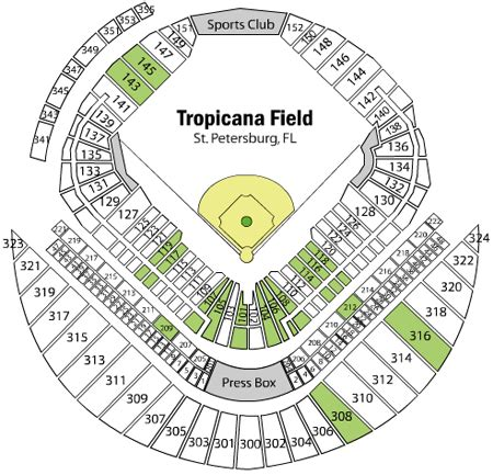 tropicana field seating chart with rows and seat numbers rays seating map pictures to pin on pinsdaddy