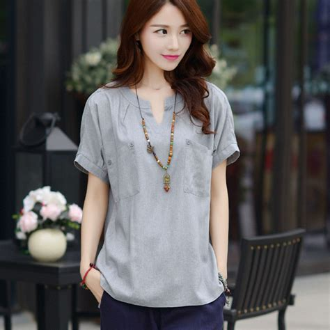 Baju Kaos T Shirt Wanita White Casual Style S Import Original summer 3xl plus size blouse solid linen korean 2017 blusas camisa feminina casual shirts