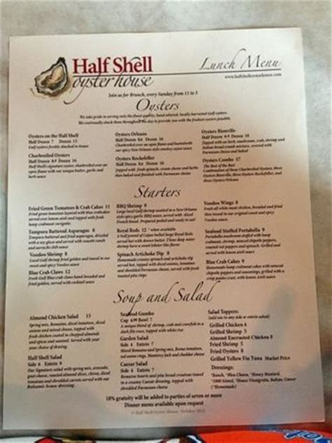 Half Shell Oyster House Menu by Lunch Menu 2 Picture Of Half Shell Oyster House Biloxi