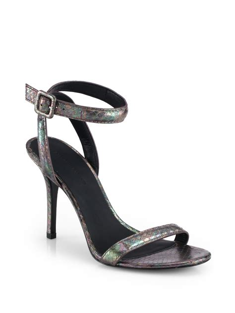 wang antonia sandal wang antonia iridescent snake embossed leather