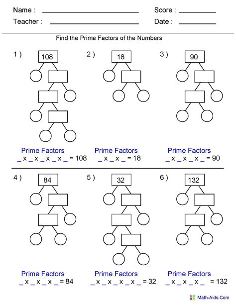 Factor Tree Worksheets 6th Grade