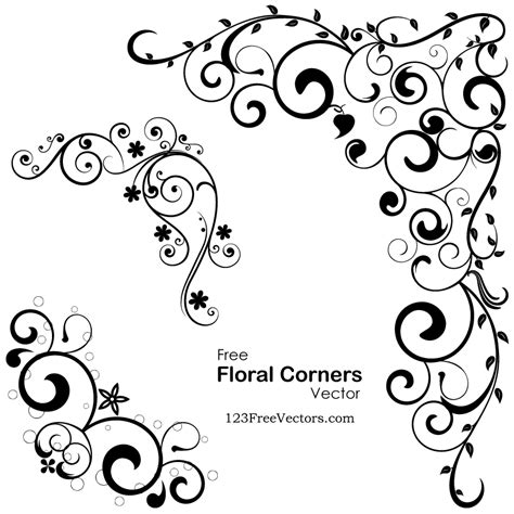 vector floral corners 123freevectors