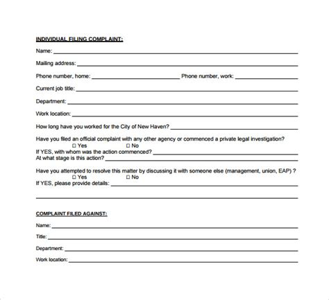employee complaint form 8 sle employee complaint forms to sle