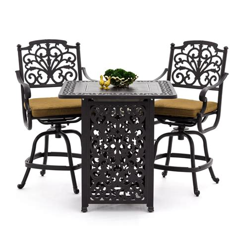 bar height patio table with pit evangeline 3 cast aluminum patio counter height bar