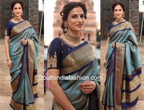 boat neck pattu blouses shilpa reddy in pattu saree and boat neck blouse at gudi