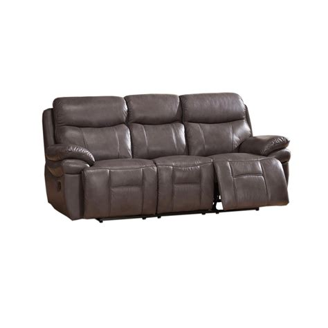 Top Grain Leather Sectional Sofa Summerlands Top Grain Leather Reclining Sofa In Smoke Grey