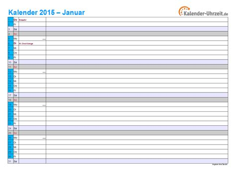Wochen Kalender 2015 Kalender 2015 Mit Feiertagen