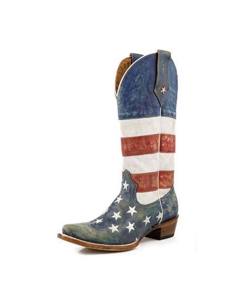 roper western boots womens american flag blue 09 021 7001
