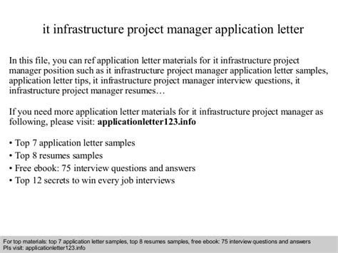 Infrastructure Manager Cover Letter It Infrastructure Project Manager Application Letter