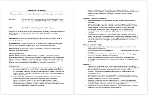 subcontract agreement template word templates