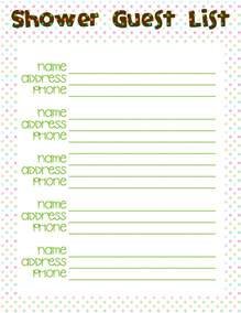 Baby Shower Guest List Template by Best Photos Of Baby Shower Printable Guest List Baby