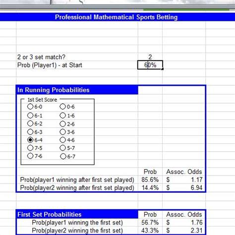 Nfl Betting Spreadsheet by Tennis Sports Betting Spreadsheet