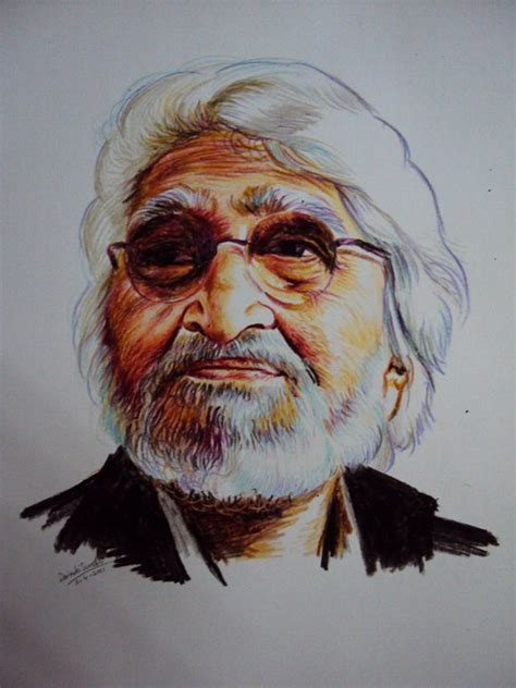 M F Hussain Sketches by Amazing Crayon Portraits By Davinchi Suresh