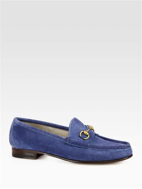 gucci blue suede loafers gucci suede horsebit loafers in blue lyst