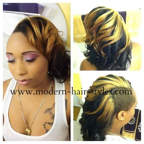 shaved side eirh spiral curls on other side short black women hairstyles of weaves braids and