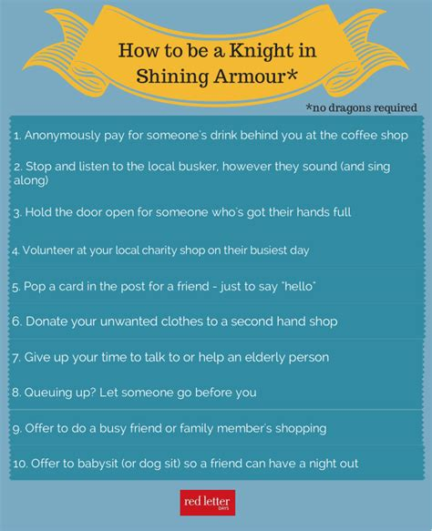 how to be an 10 ways to be a knight in shining armour red letter days