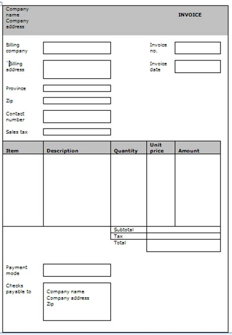 generic invoice template free search free blank invoice templates search results