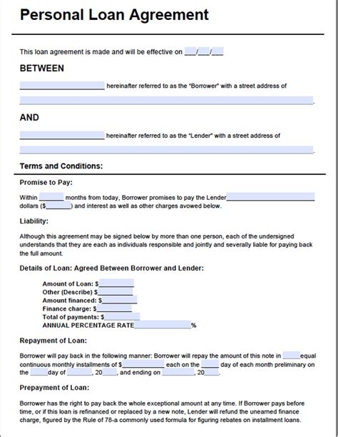 blank loan agreement template images templates design ideas