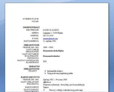format slike za cv kako napisati životopis zaposli se molba zamolba za
