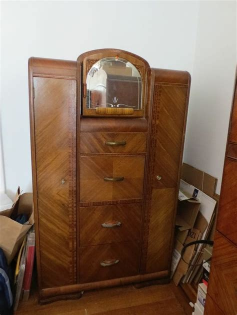 secretary armoire waterfall style art deco chifferobe armoire wardrobe