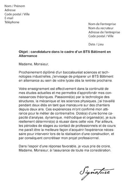 Exemple De Lettre De Motivation Btp lettre de motivation bts b 226 timent alternance mod 232 le de