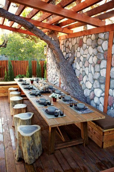 outdoor dining area ingenious projects that turn wood logs into outdoor furniture