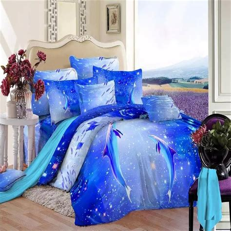 dolphin comforter set queen 2015 new listing 3d dolphin and fish blue ocean bedding