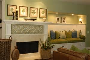 Fireplace tiles ideas family room traditional with baskets