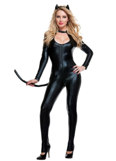 cat time black leather womens black leather cat costume