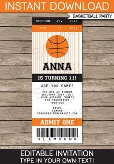 Printable Basketball Ticket Birthday Invitation Nba Party Free Thank You Card Included Nba Ticket Template