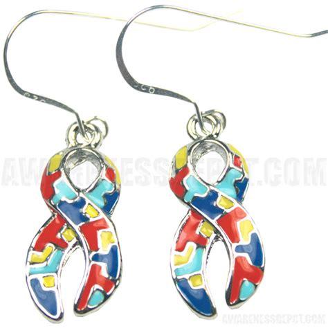 autism ribbon charm earrings awarenessdepot
