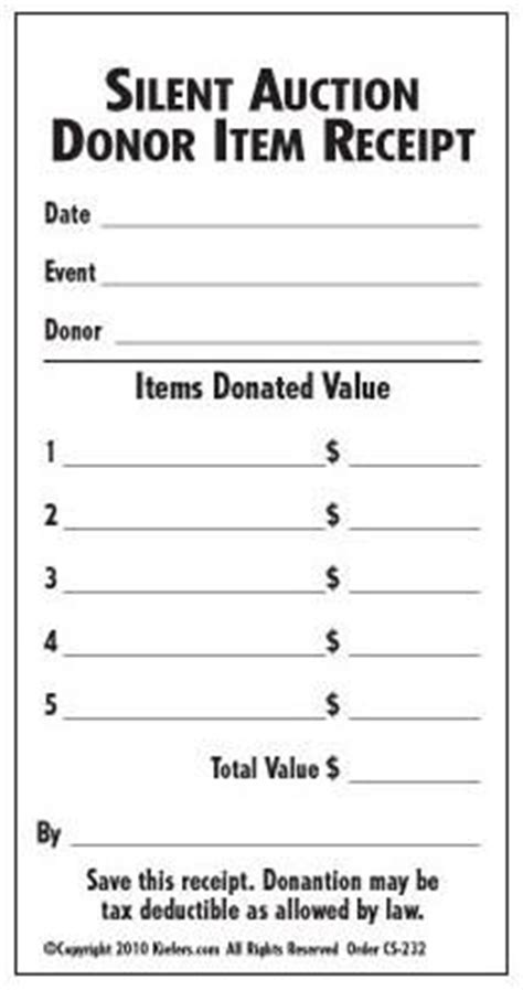 template receipt won auction items silent auction donation receipt donation slip kiefer