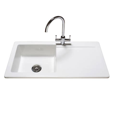 Ceramic Kitchen Sinks Uk Reginox Contemporary White Ceramic 1 0 Bowl Kitchen Sink With Tap