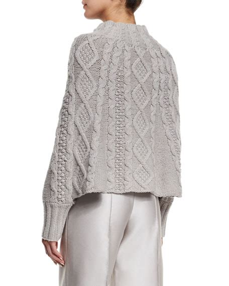 knitting pattern poncho with sleeves co cable knit sleeve poncho gray neiman