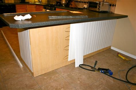 adding beadboard to kitchen cabinets add beadboard to peninsula kitchen cabinet enhancement