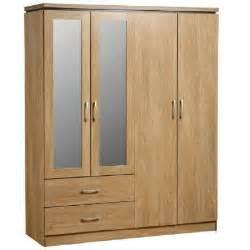 Wardrobe For Sale Carlo 4 Door 2 Drawer Wardrobe With Mirrors In Oak Vaneer