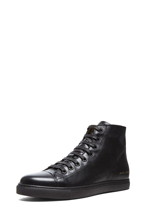 black high top leather sneakers marc high top leather sneakers in black lyst