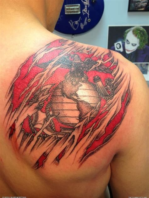 badass shoulder tattoos gallery for gt marine corps tattoos shoulder blade for