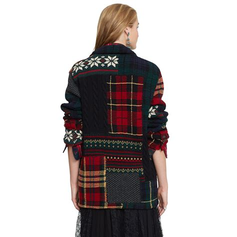 Ralph Patchwork Sweater - polo ralph patchwork wool cardigan in lyst