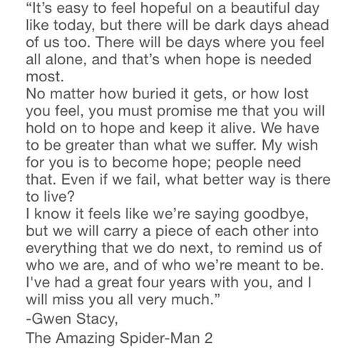 Gwen Stacy?s Graduation Speech   Life of a Wallflower