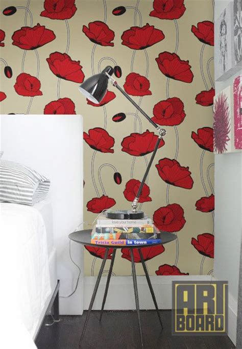 Retro Poppy Pattern Self Adhesive Diy Wallpaper Home By Poppy Wallpaper Home Interior