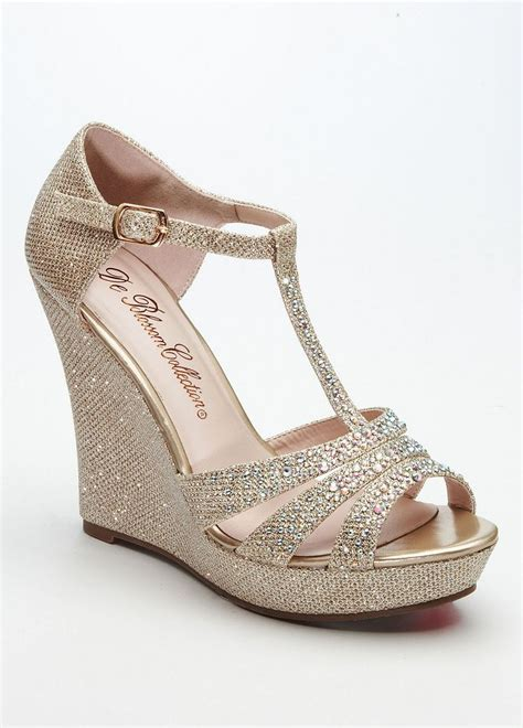 Wedges Pin Merak 4 5cm david s bridal wedding bridesmaid shoes glitter t