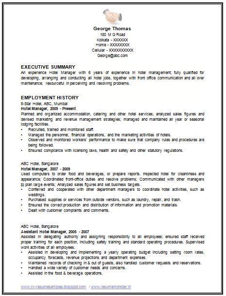international standard resume format doc sle template of an excellent restaurant manager resume