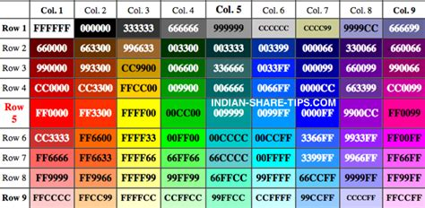 html color table color hex code images