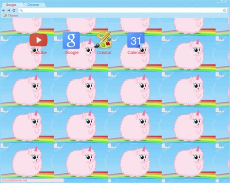 unicorn theme for google chrome pink fluffy unicorns dancing on rainbows chrome theme